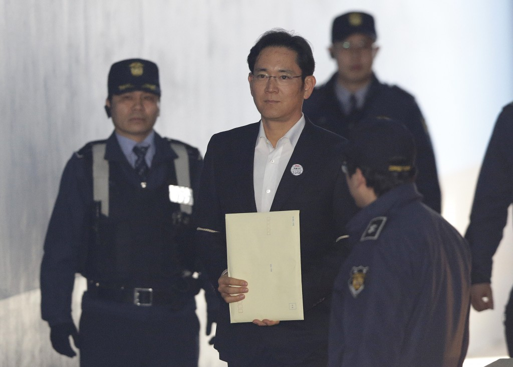 Lee Jae-yong center vice chairman of Samsung Electronics arrives at the Seoul High Court for a hearing in Seoul South Korea Monday Feb. 5 2018