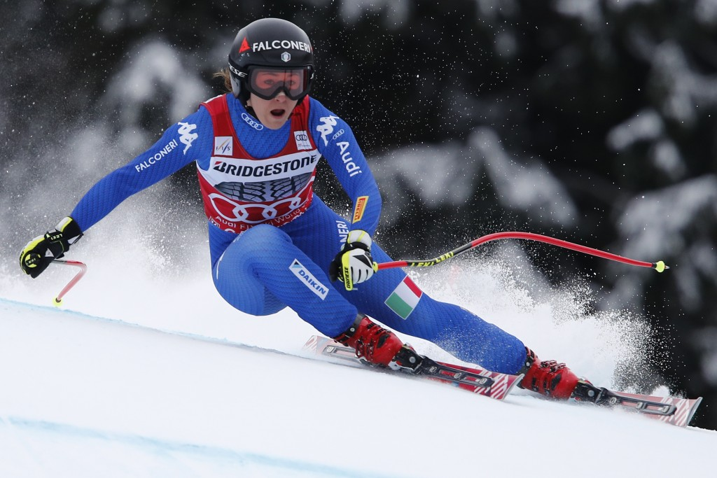 f3e72bcac3d File- This Feb. 3, 2018, file photo shows Italy's Sofia Goggia competing