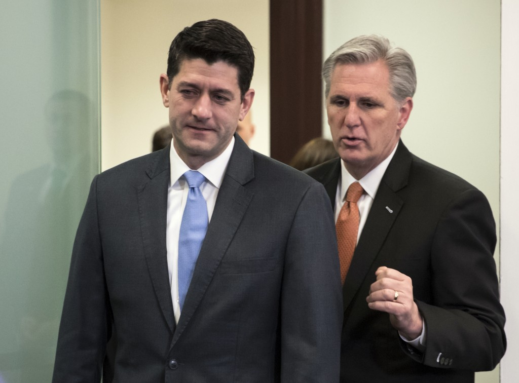 Speaker of the House Paul Ryan R-Wis. left and Majority Leader Kevin McCarthy R-Calif. confer as they arrive to meet with reporters following a