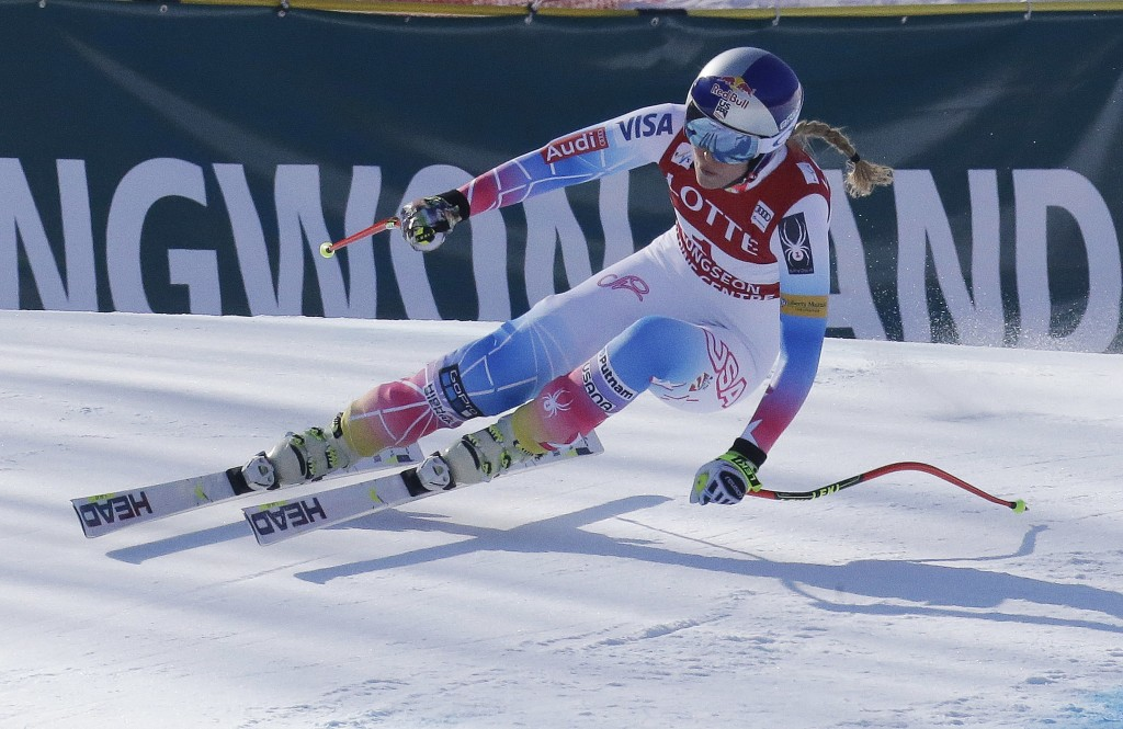 FILE - In this March 4, 2017, file photo, United States' Lindsey Vonn competes during the women's World Cup downhill at the Jeongseon Alpine Center in