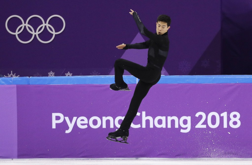 United States' Nathan Chen performs in the men's single short program team event at the 2018 Winter Olympics in Gangneung, South Korea, Friday, Feb. 9
