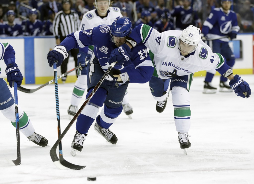 Tampa Bay Lightning left wing Alex Killorn (17) and Vancouver Canucks left  wing Sven 456085774