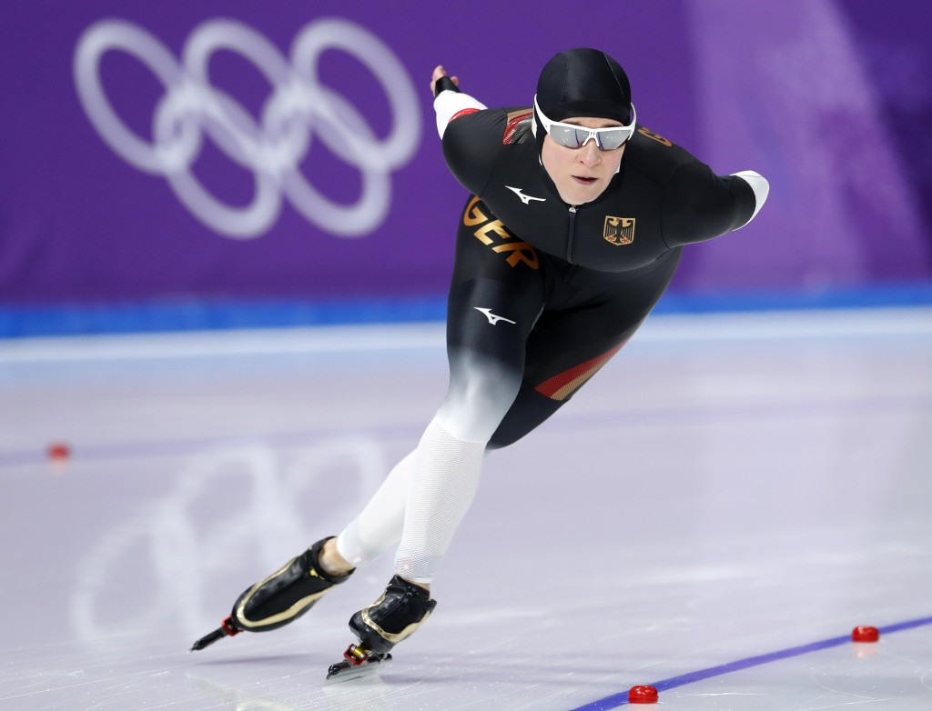 Claudia Pechstein, of Germany competes during the women's 3,000 meters race at the Gangneung Oval at the 2018 Winter Olympics in Gangneung, South Kore