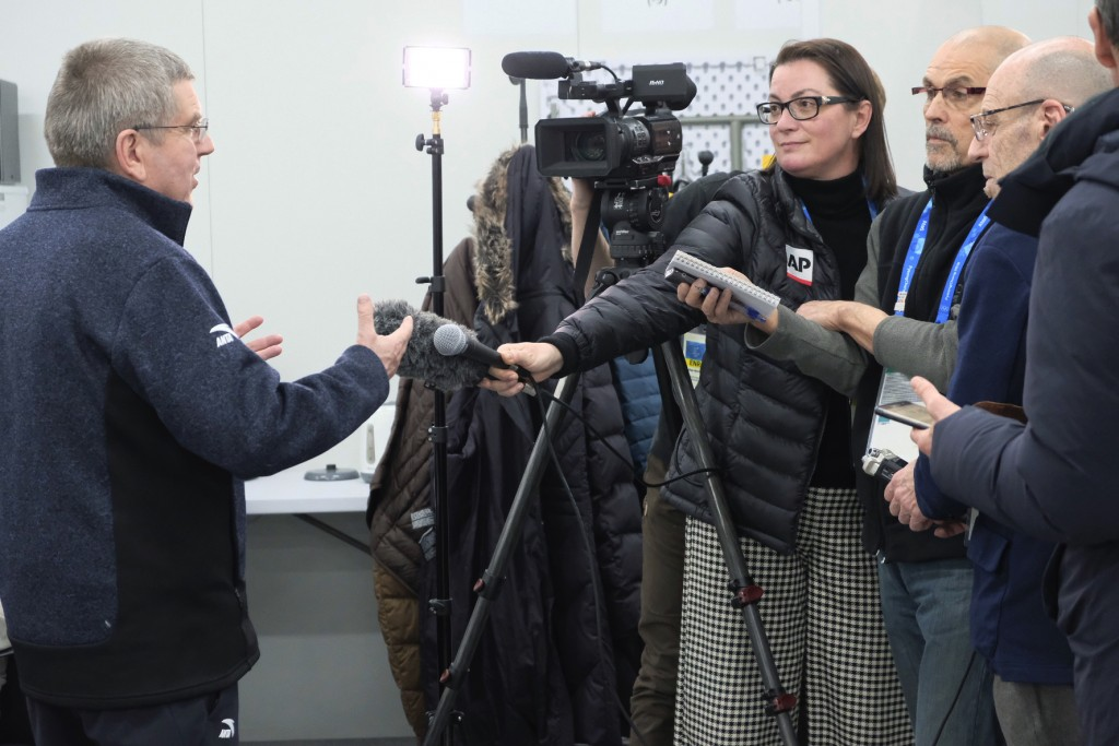 Thomas Bach, President of the International Olympic Committee speaks to Associated Press reporters at the 2018 Winter Olympics in Pyeongchang, South K