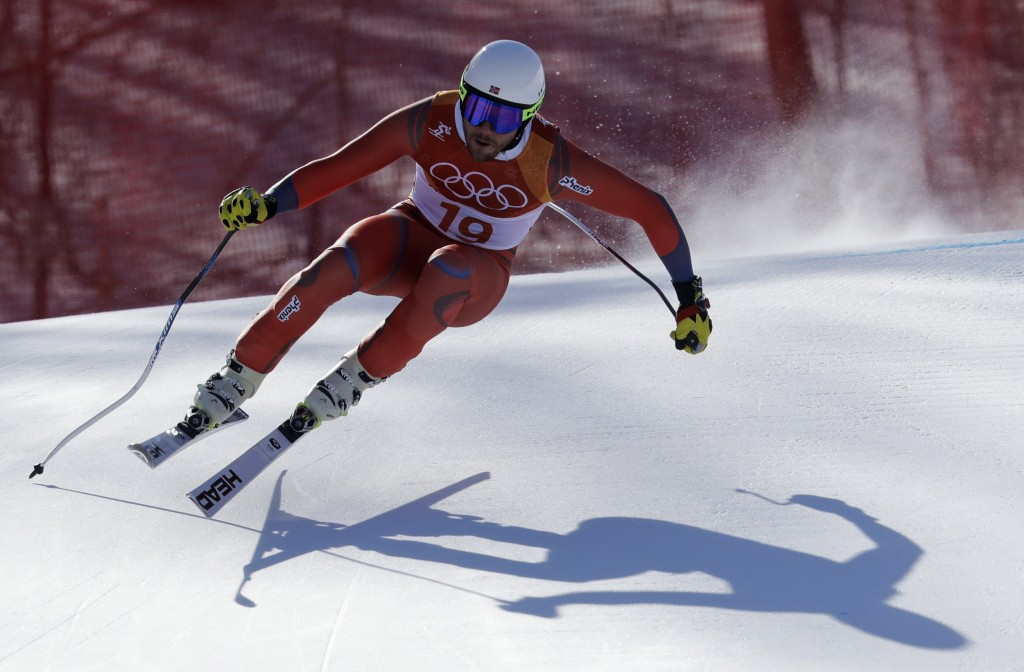 Norway's Kjetil Jansrud skis during the downhill portion of the men's combined at the 2018 Winter Olympics in Jeongseon, South Korea, Tuesday, Feb. 13
