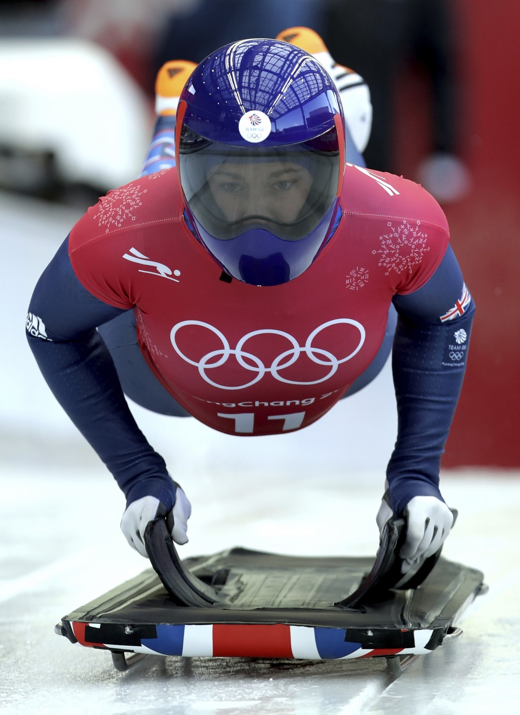 Lizzy Yarnold of Britain starts a women's skeleton training run at the 2018 Winter Olympics in Pyeongchang, South Korea, Tuesday, Feb. 13, 2018. (AP P
