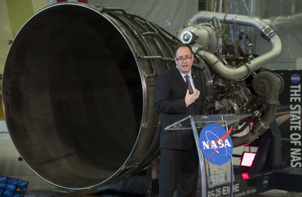 In his image provided by NASA, acting NASA Administrator Robert Lightfoot discusses the fiscal year 2019 budget proposal during a State of NASA addres