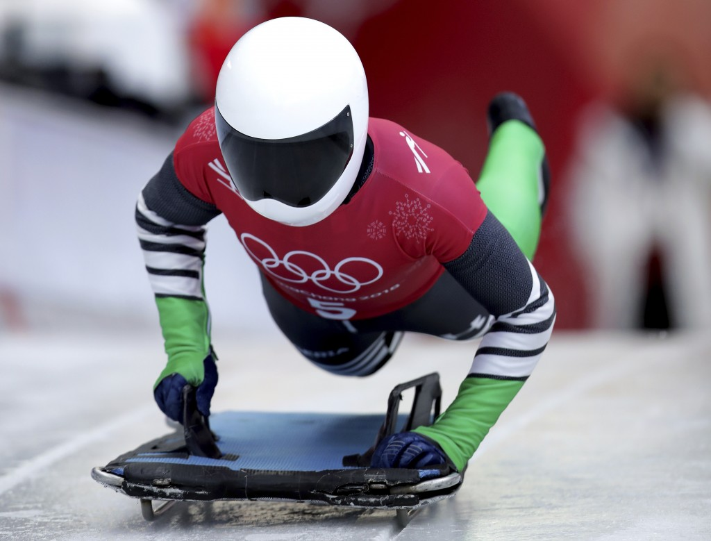Simidele Adeagbo of Nigeria starts a women's skeleton training run at the 2018 Winter Olympics in Pyeongchang, South Korea, Tuesday, Feb. 13, 2018. (A
