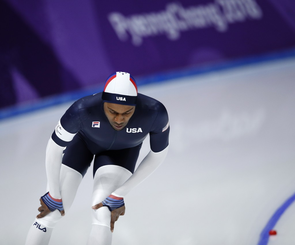 Shani Davis of the U.S. appears dejected after the men's 1,500 meters speedskating race at the Gangneung Oval at the 2018 Winter Olympics in Gangneung
