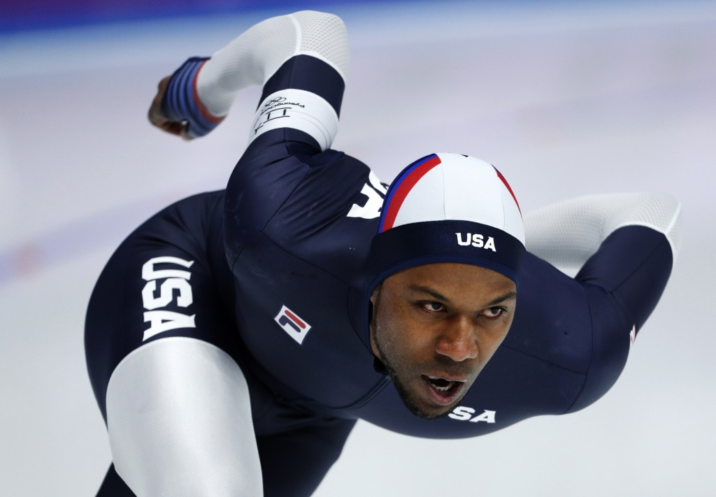 Shani Davis if the U.S. competes during the men's 1,500 meters speedskating race at the Gangneung Oval at the 2018 Winter Olympics in Gangneung, South