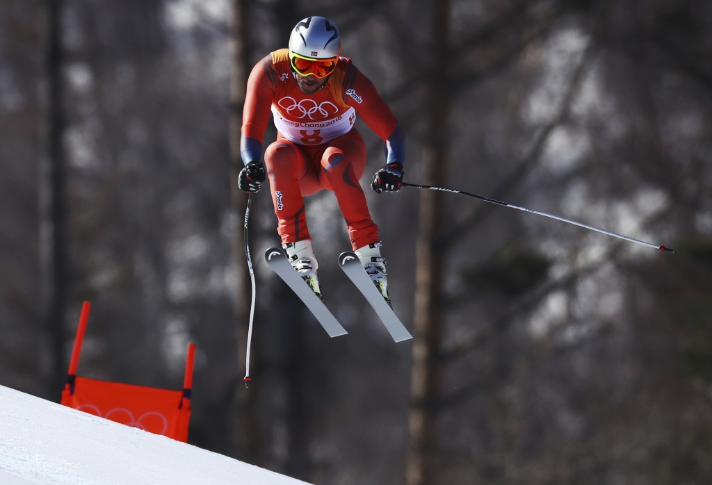 Norway's Aksel Lund Svindal skis during the downhill portion of the men's combined at the 2018 Winter Olympics in Jeongseon, South Korea, Tuesday, Feb