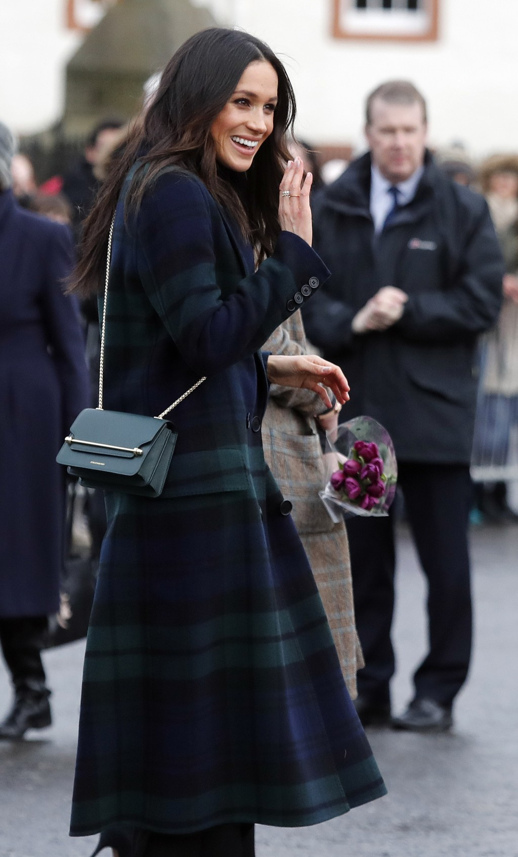 Meghan Markle fiancee of Britain's Prince Harry arrives at Edinburgh Castle in Edinburgh, Scotland, Tuesday, Feb. 13, 2018. The recently engaged coupl