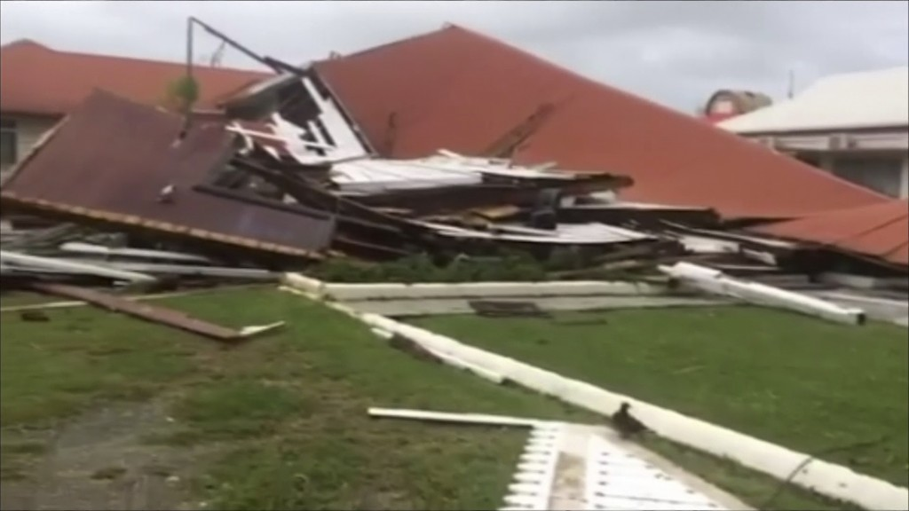 This image made from a video, shows parliament house damaged by Cyclone Gita in Nuku'alofa, Tonga Tuesday, Feb. 13, 2018. Tonga began cleaning up Tues