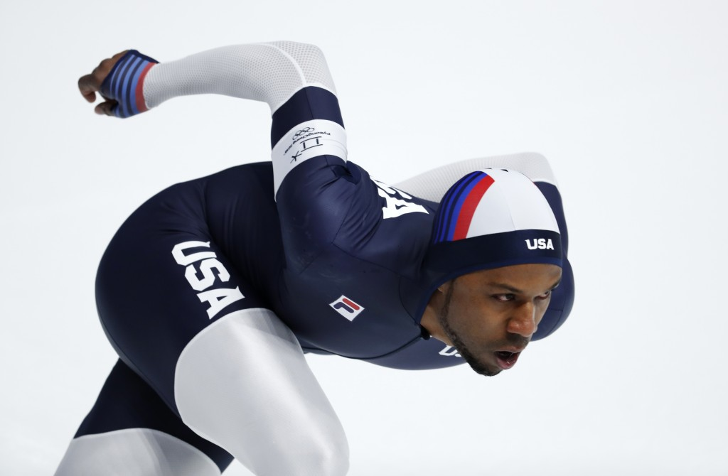 Shani Davis of the U.S. competes during the men's 1,500 meters speedskating race at the Gangneung Oval at the 2018 Winter Olympics in Gangneung, South