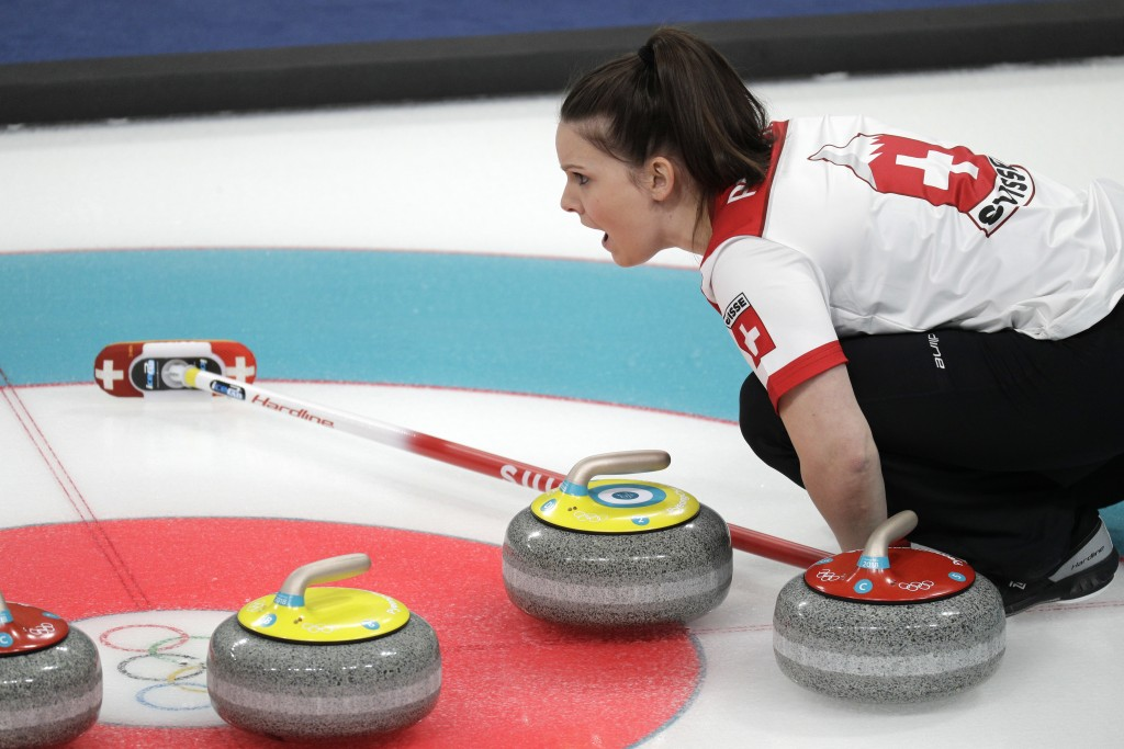 Switzerland Jenny Perret shouts during their mixed doubles curling finals match against Canada at the 2018 Winter Olympics in Gangneung, South Korea,