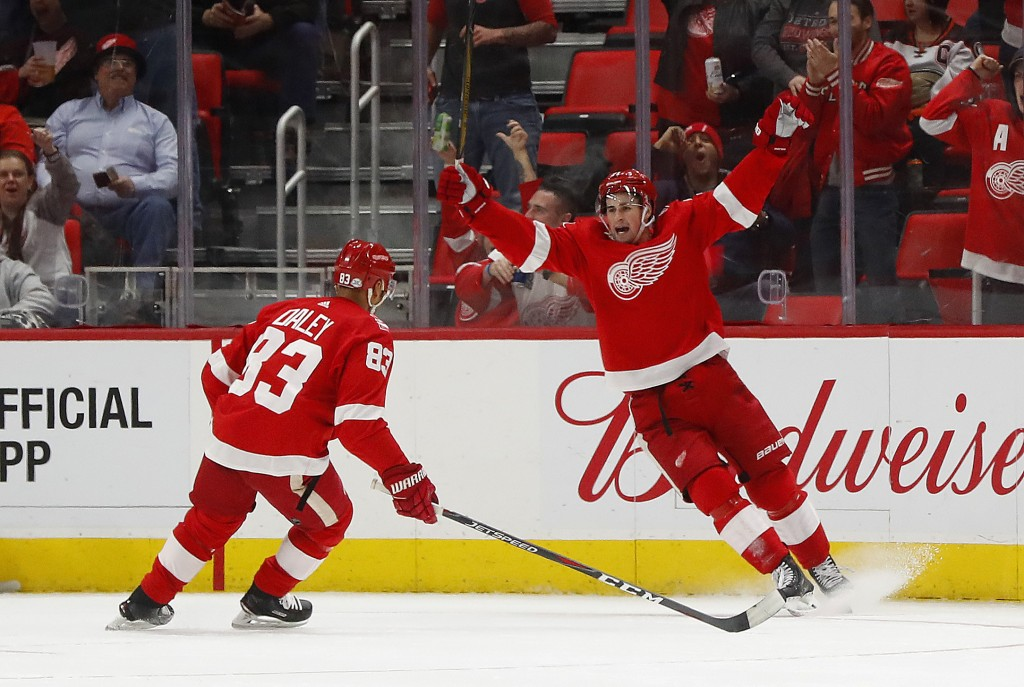 Detroit Red Wings center Dylan Larkin, right, celebrates his goal against the Anaheim Ducks with Trevor Daley (83) in the first period of an NHL hocke