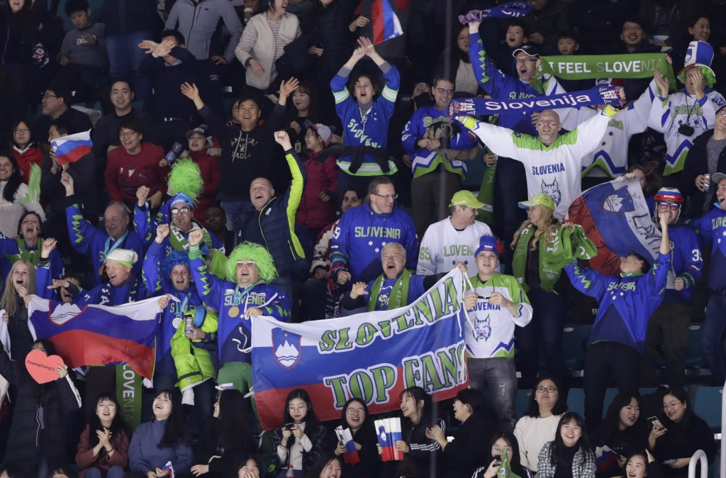 Fans cheer after Jan Mursak (39), of Slovenia, scored a goal to tie the game against the United States during the third period of the preliminary roun