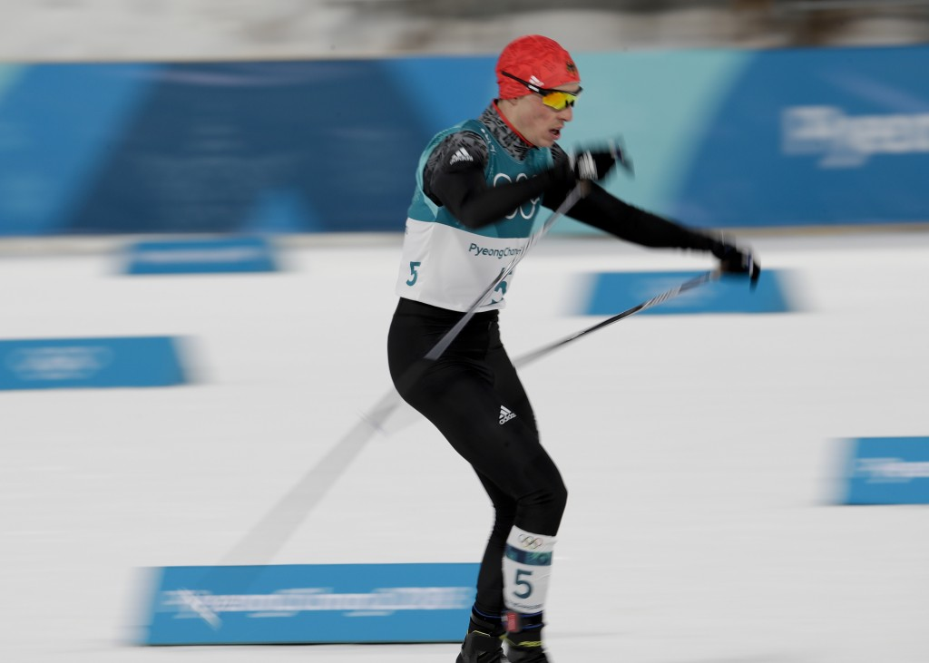 Eric Frenzel, of Germany, competes during the 10km cross-country skiing portion of the nordic combined event at the 2018 Winter Olympics in Pyeongchan