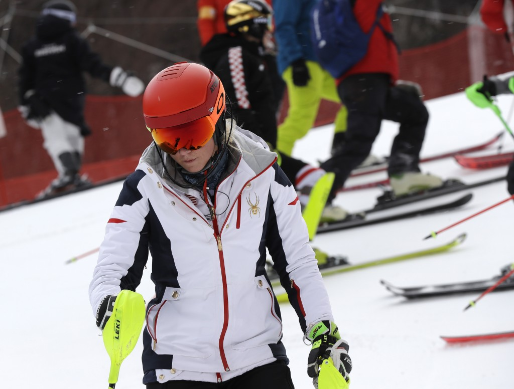 United States' Mikaela Shiffrin looks down as she takes part in an inspection of the course ahead of the women's slalom at Yongpyong alpine center at