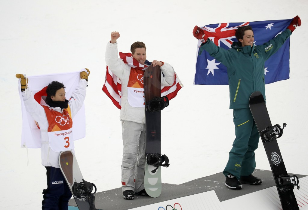 From left; Silver medal winner Ayumu Hirano, of Japan, gold medal winner Shaun White, of the United States, and bronze medal winner Scotty James, of A
