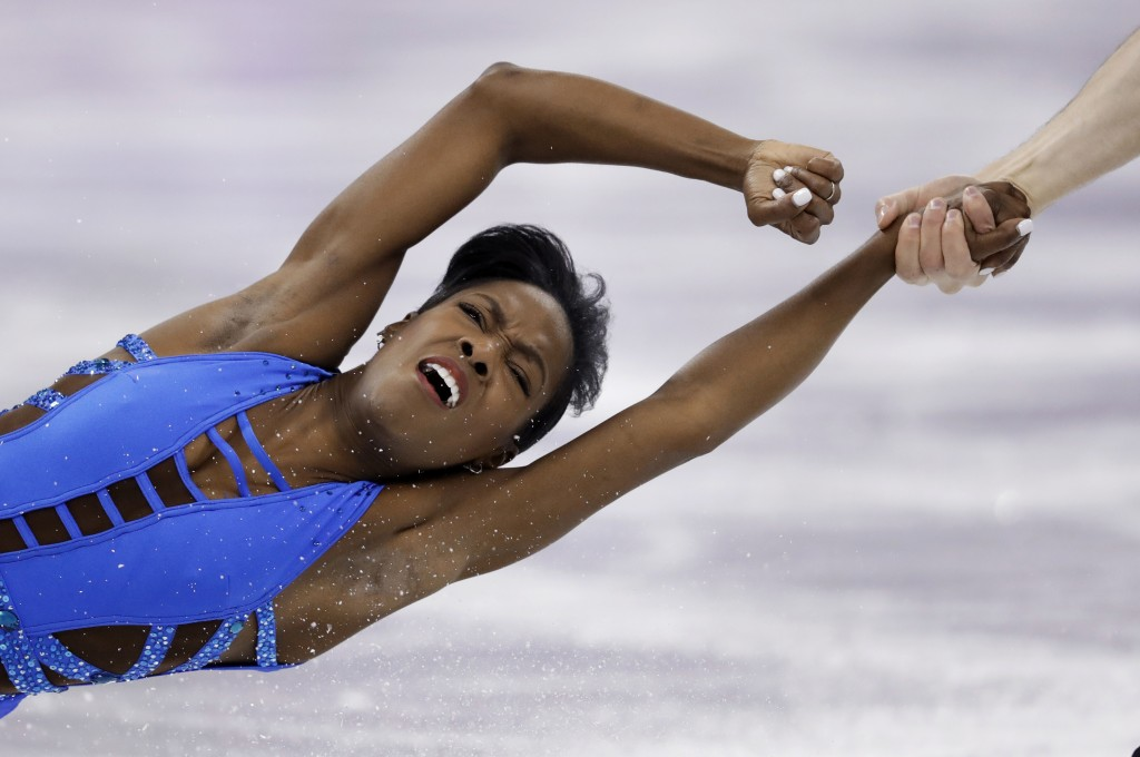 Vanessa James and Morgan Cipres, of France, perform in the pair figure skating short program in the Gangneung Ice Arena at the 2018 Winter Olympics in