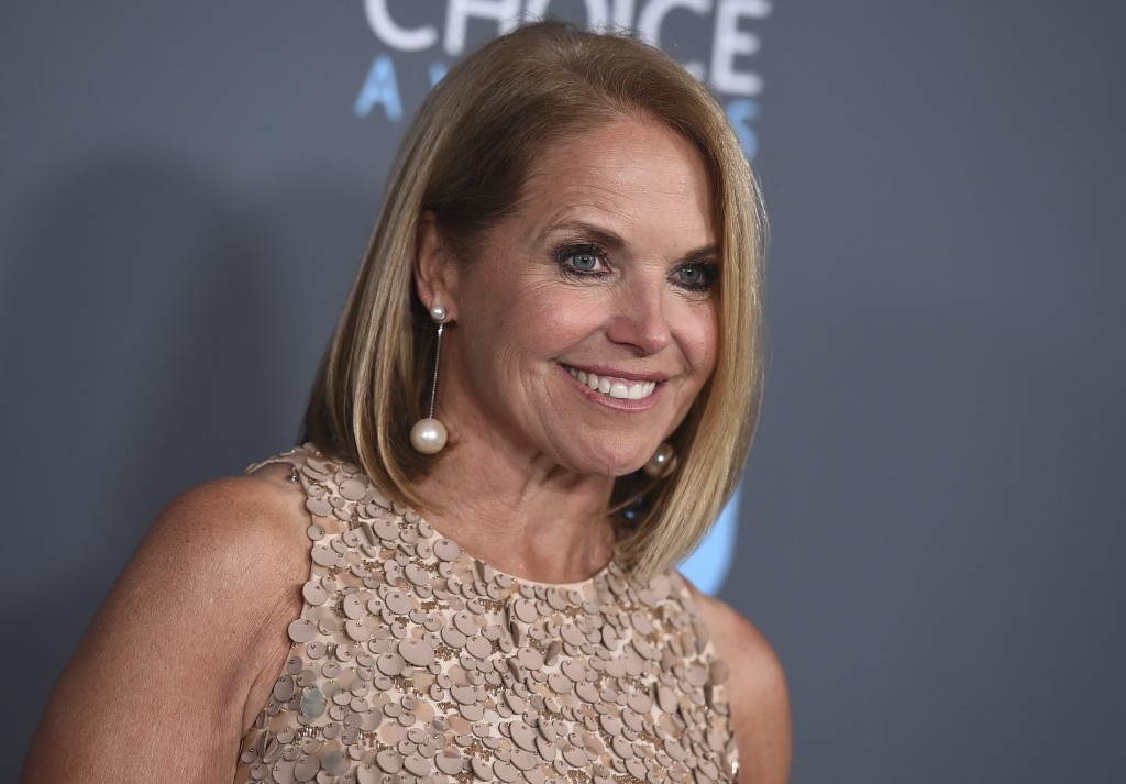 FILE - In this Jan. 11, 2018 file photo, Katie Couric poses in the press room at the 23rd annual Critics' Choice Awards in Santa Monica, Calif. Couric