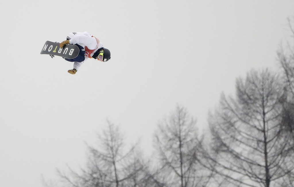 Ayumu Hirano, of Japan, jumps during the men's halfpipe finals at Phoenix Snow Park at the 2018 Winter Olympics in Pyeongchang, South Korea, Wednesday