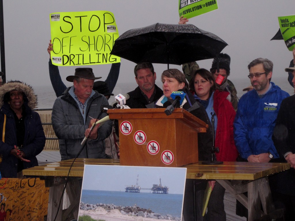FILE - In this Wednesday, Feb. 7, 2018 file photo, Cindy Zipf, executive director of the Clean Ocean Action environmental group, speaks at a rally in