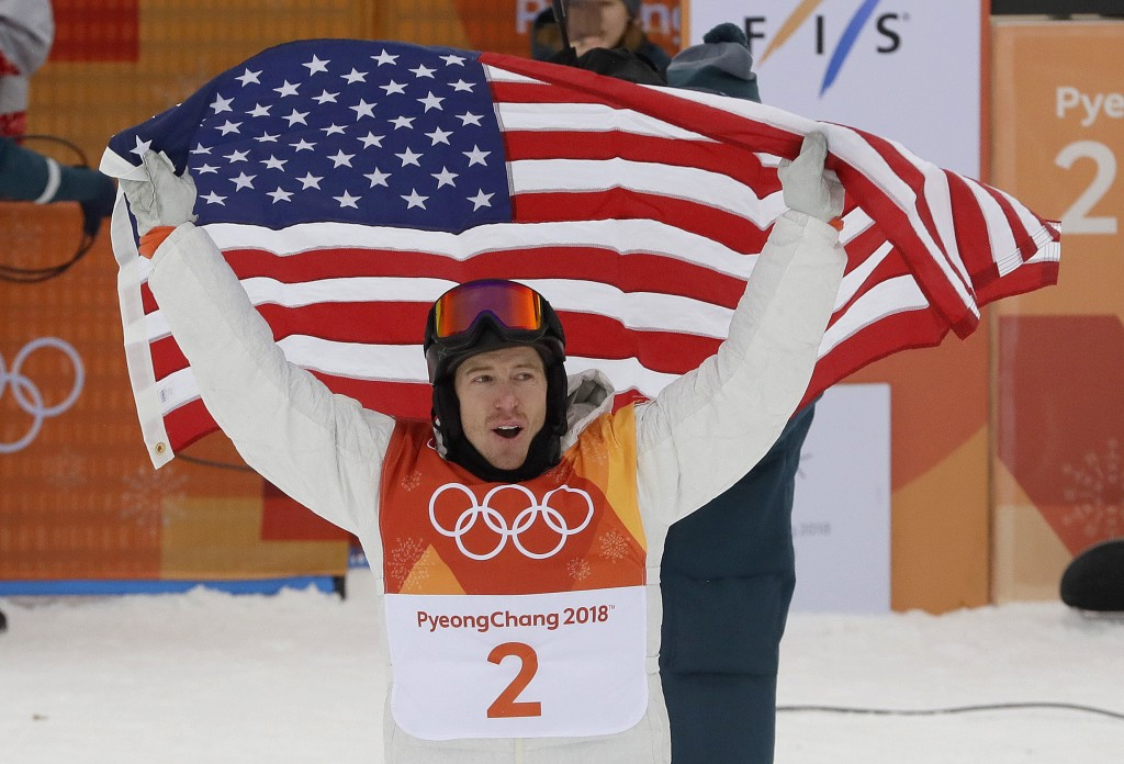 Shaun White, of the United States, celebrates his gold medal after the men's halfpipe finals at Phoenix Snow Park at the 2018 Winter Olympics in Pyeon