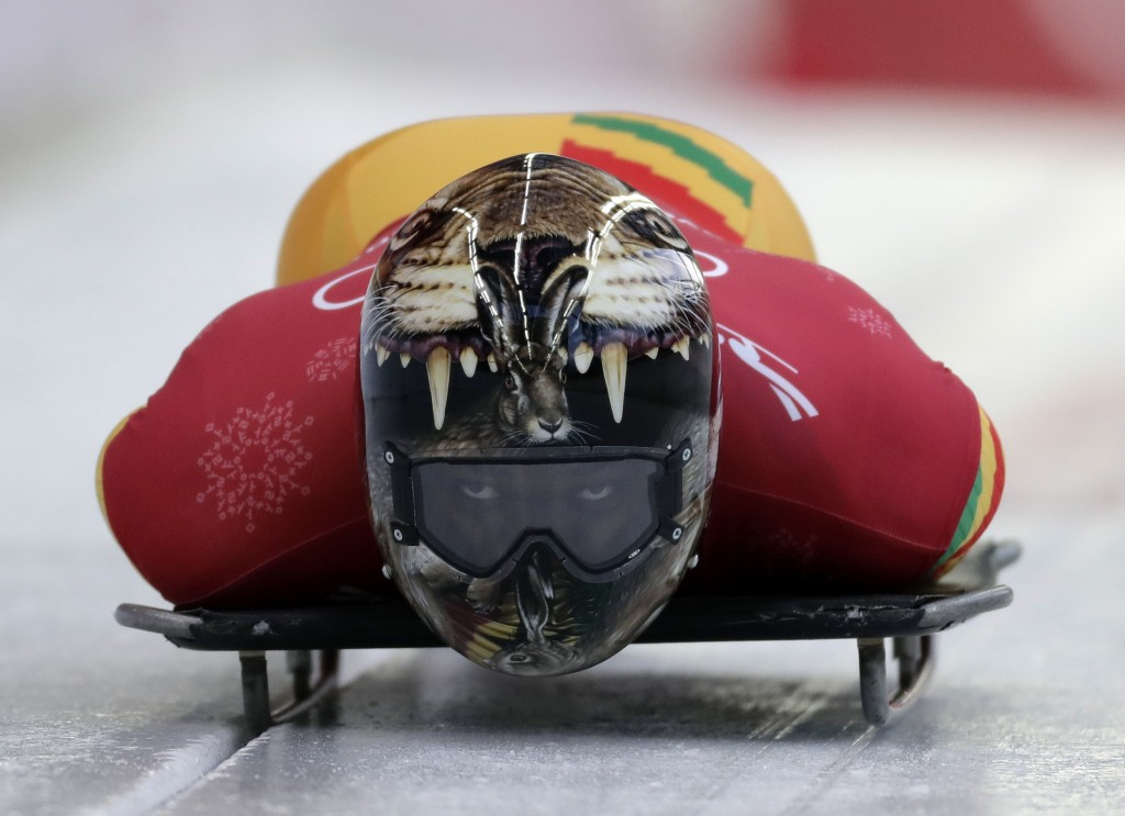 Akwasi Frimpong of Ghana starts his practice run during the men's skeleton training at the 2018 Winter Olympics in Pyeongchang, South Korea, Wednesday