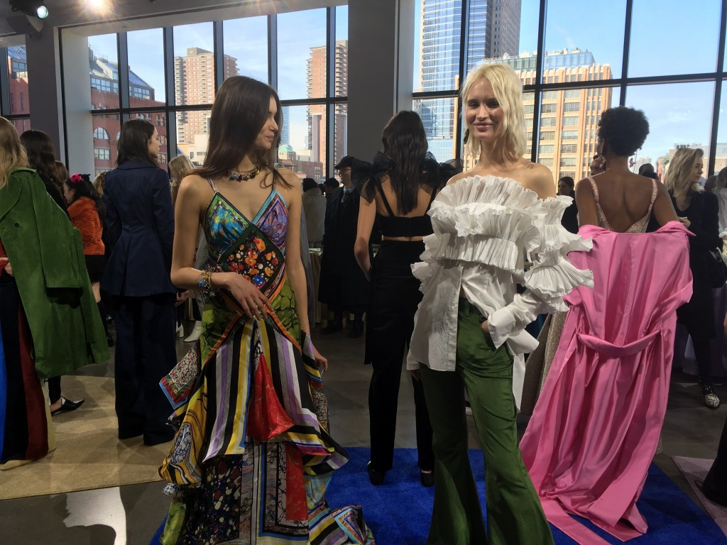 Fashion from the Rosie Assoulin collection is modeled during Fashion Week, Tuesday, Feb. 13, 2018 in New York. (AP Photo/Jocelyn Noveck)