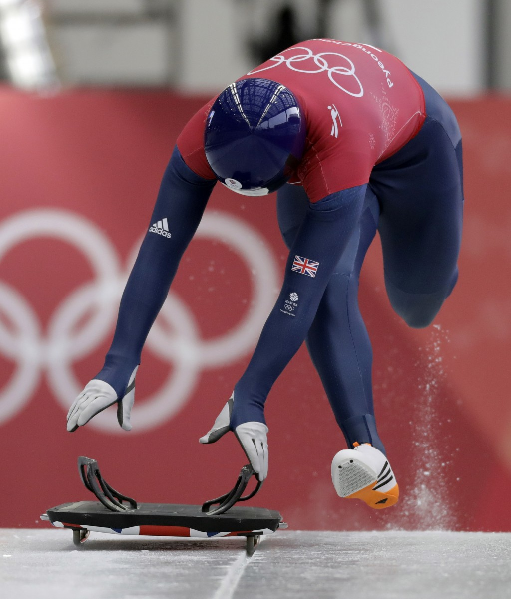 Jerry Rice of Britain starts his practice run during the men's skeleton training at the 2018 Winter Olympics in Pyeongchang, South Korea, Wednesday, F