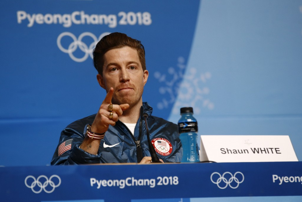 Men's halfpipe gold medalist Shaun White, of the United States, speaks at a news conference at the 2018 Winter Olympics in Pyeongchang, South Korea, W