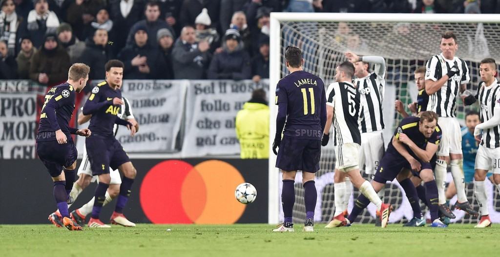 Tottenham's Christian Eriksen scores on a free-kick during the Champions League, round of 16 first-leg soccer match between Juventus and Tottenham Hot