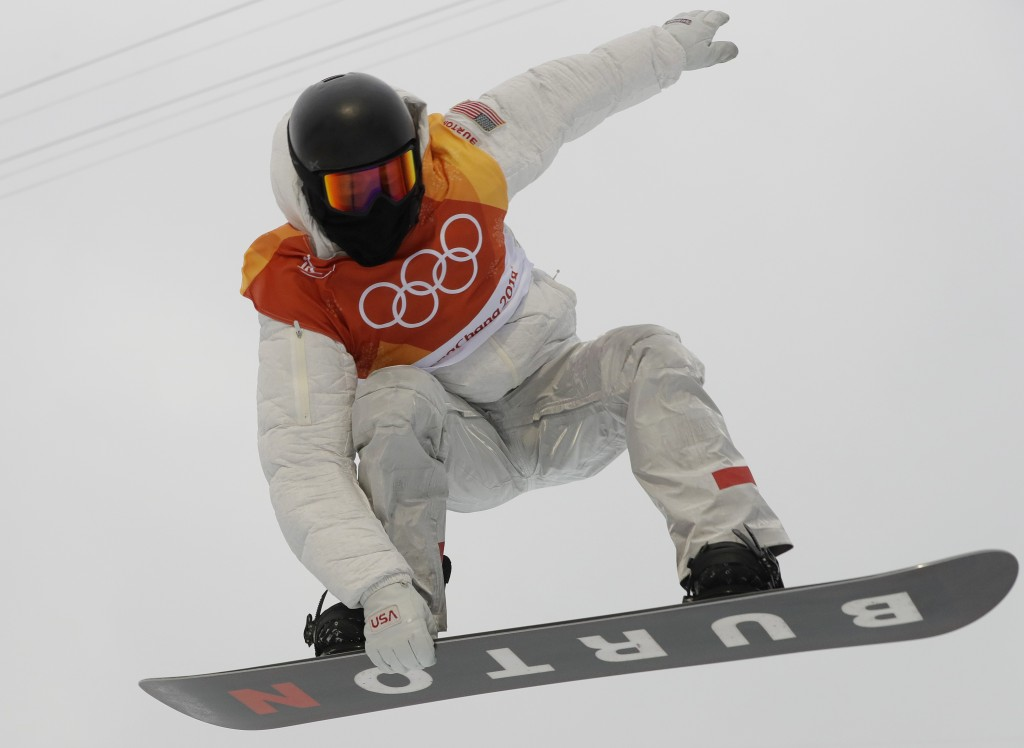 Shaun White, of the United States, jumps during the men's halfpipe finals at Phoenix Snow Park at the 2018 Winter Olympics in Pyeongchang, South Korea