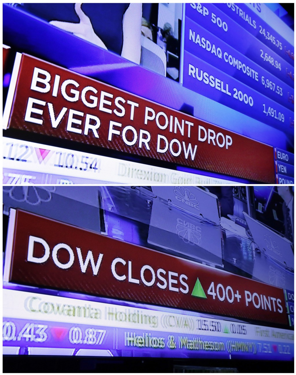 In this combo of file photo taken on the floor of the New York Stock Exchange, a television screen headlines the stock index news at the close of trad