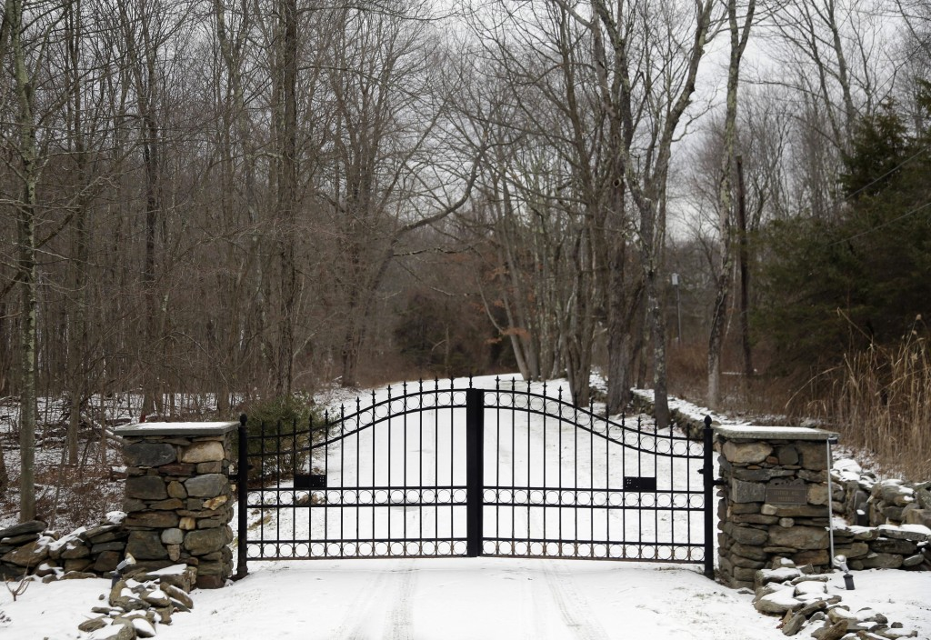 In this Feb. 1, 2018, photo, the gates of Leather Hill Preserve are viewed in Wingdale, N.Y. A company tied to Donald Trump Jr. and Eric Trump owns th
