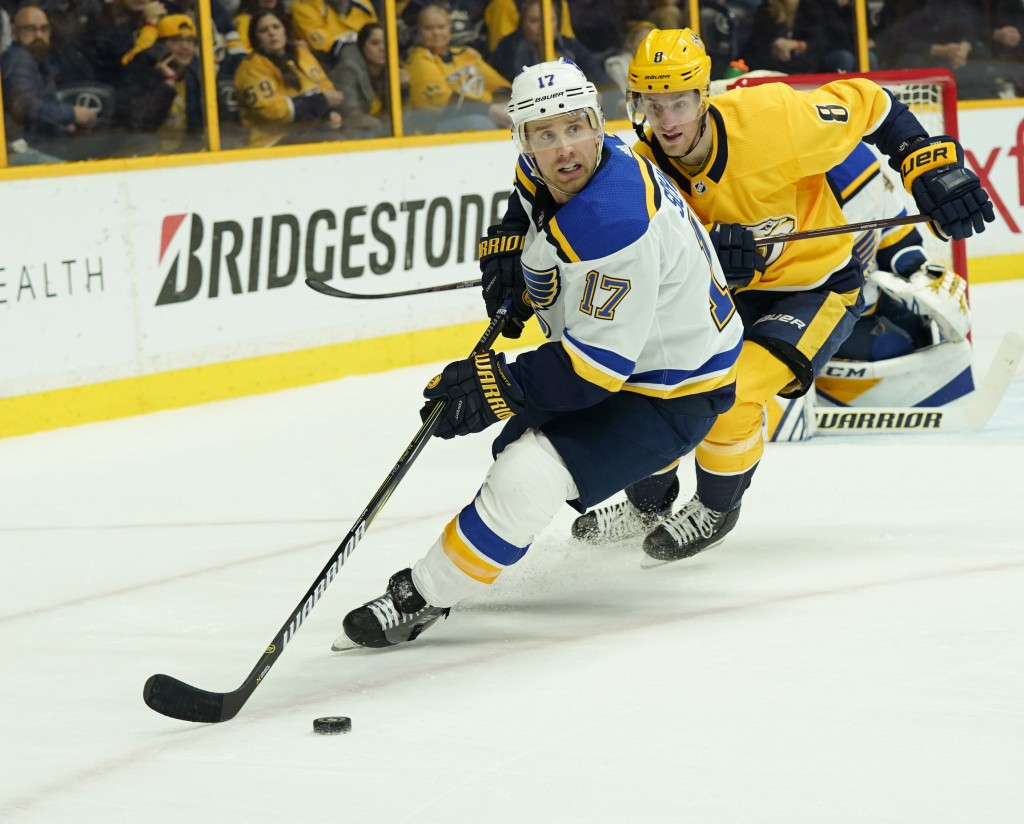 St. Louis Blues left wing Jaden Schwartz (17) controls the puck in front of Nashville Predators center Kyle Turris (8) in the second period of an NHL