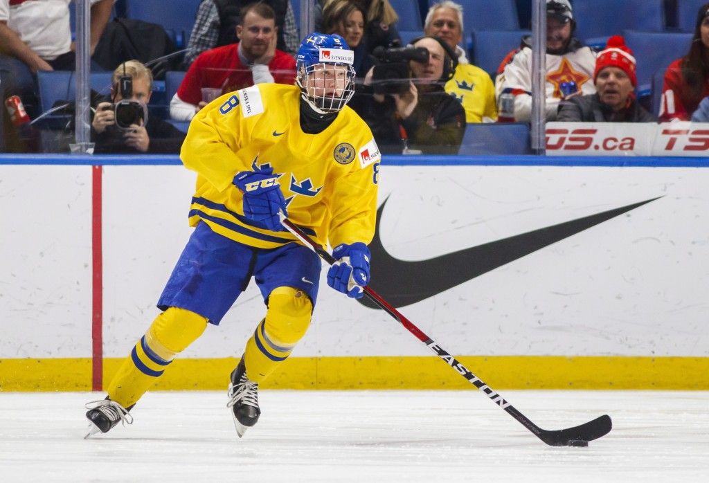 FILE - In this Dec. 31, 2017 file photo, Sweden's Rasmus Dahlin skates during the second period of an IIHF world junior hockey championships game agai