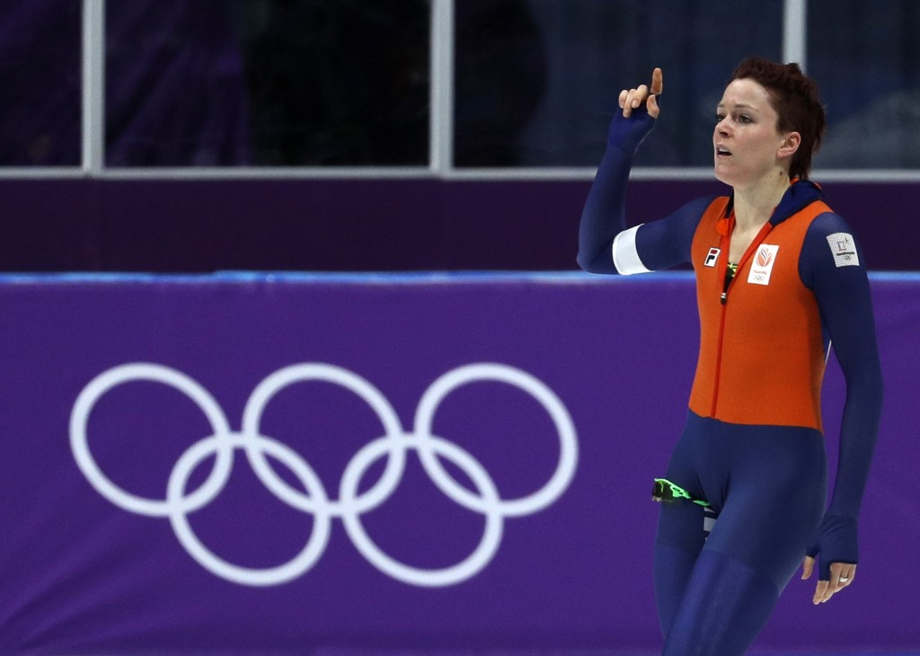 Jorien ter Mors of The Netherlands celebrates setting a new Olympic record in the women's 1,000 meters speedskating race at the Gangneung Oval at the