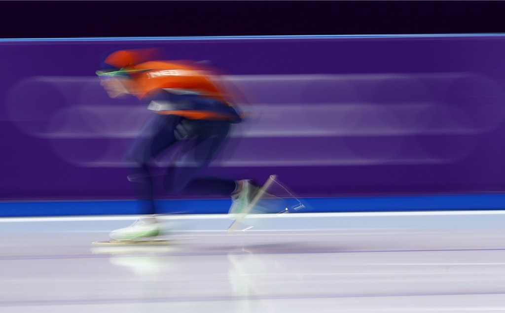Jorien ter Mors of The Netherlands skates to a new Olympic record on the women's 1,000 meters speedskating race at the Gangneung Oval at the 2018 Wint