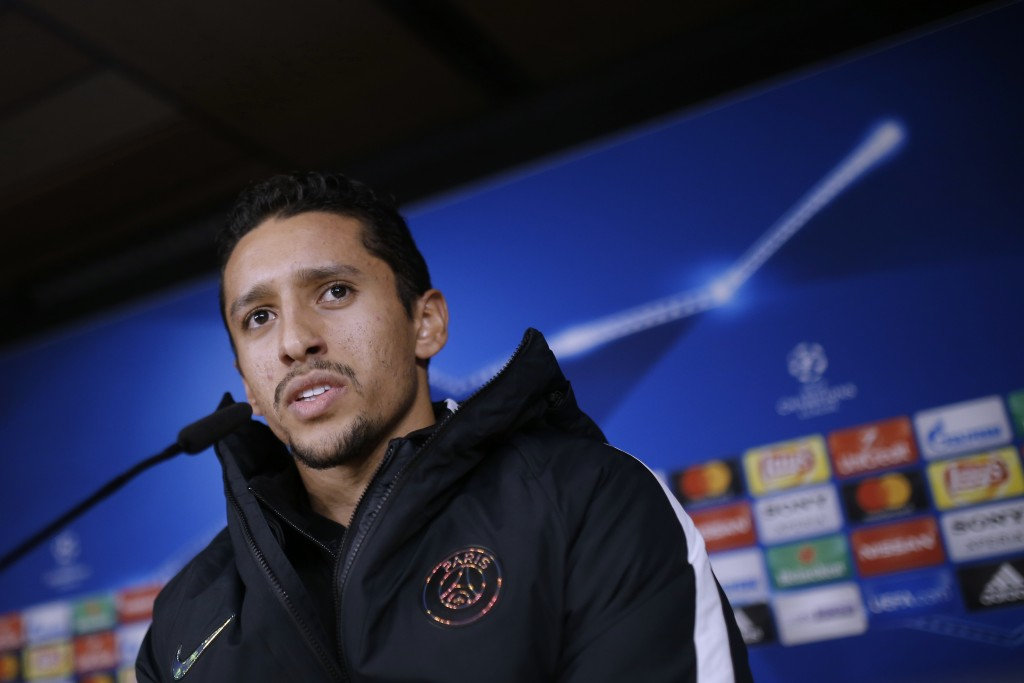 PSG's Marquinhos answers a question during a news conference at the Santiago Bernabeu stadium in Madrid, Tuesday, Feb. 13, 2018. Paris Saint Germain w