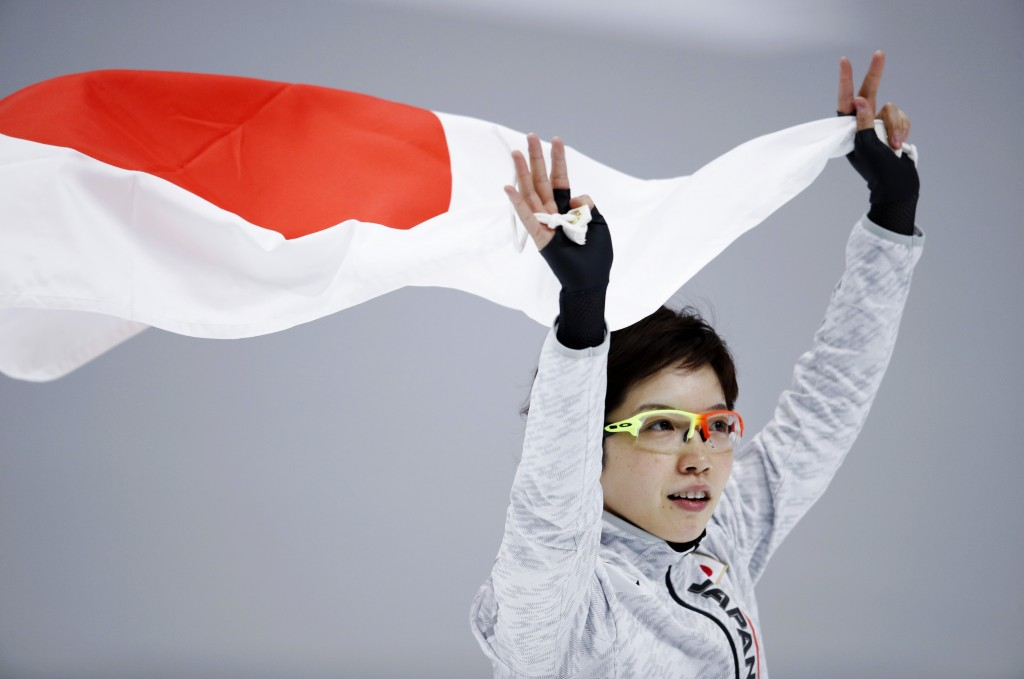Silver medallist Japan's Nao Kodaira celebrates after the women's 1,000 meters speedskating race at the Gangneung Oval at the 2018 Winter Olympics in