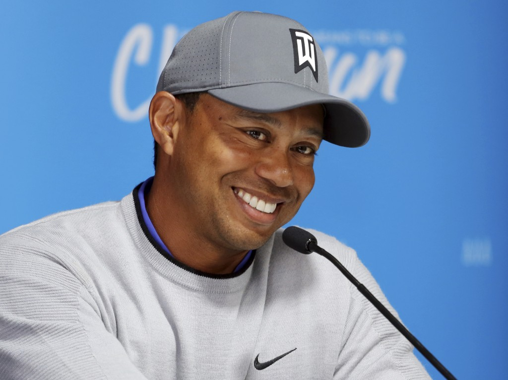 Tiger Woods talks about his charitable works off the course and his return to competitive golf in the Genesis Open at Riviera Country Club after an ab
