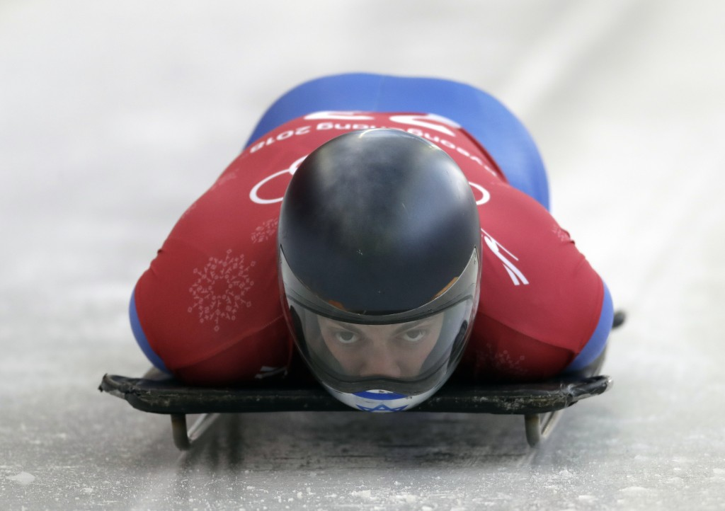 Adam Edelman of Israel starts his practice run during the men's skeleton training at the 2018 Winter Olympics in Pyeongchang, South Korea, Wednesday,