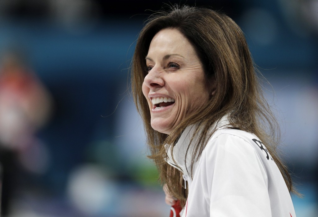 Canadian curler Cheryl Bernard smiles during a training session for the women's curling matches at the 2018 Winter Olympics in Gangneung, South Korea,