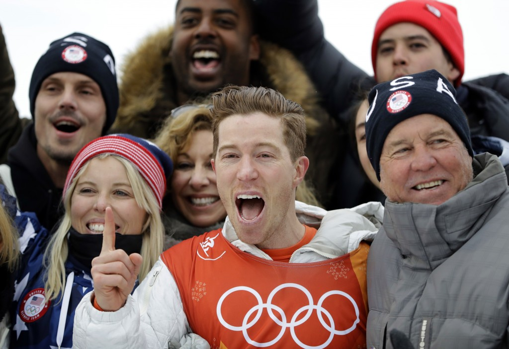 Shaun White, of the United States, celebrates winning gold after the men's halfpipe finals at Phoenix Snow Park at the 2018 Winter Olympics in Pyeongc