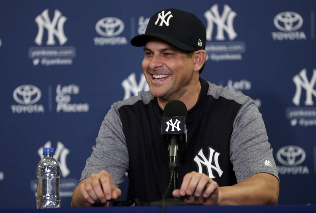 New York Yankees manager Aaron Boone speaks during a news conference at baseball spring training camp, Tuesday, Feb. 13, 2018, in Tampa, Fla. (AP Phot
