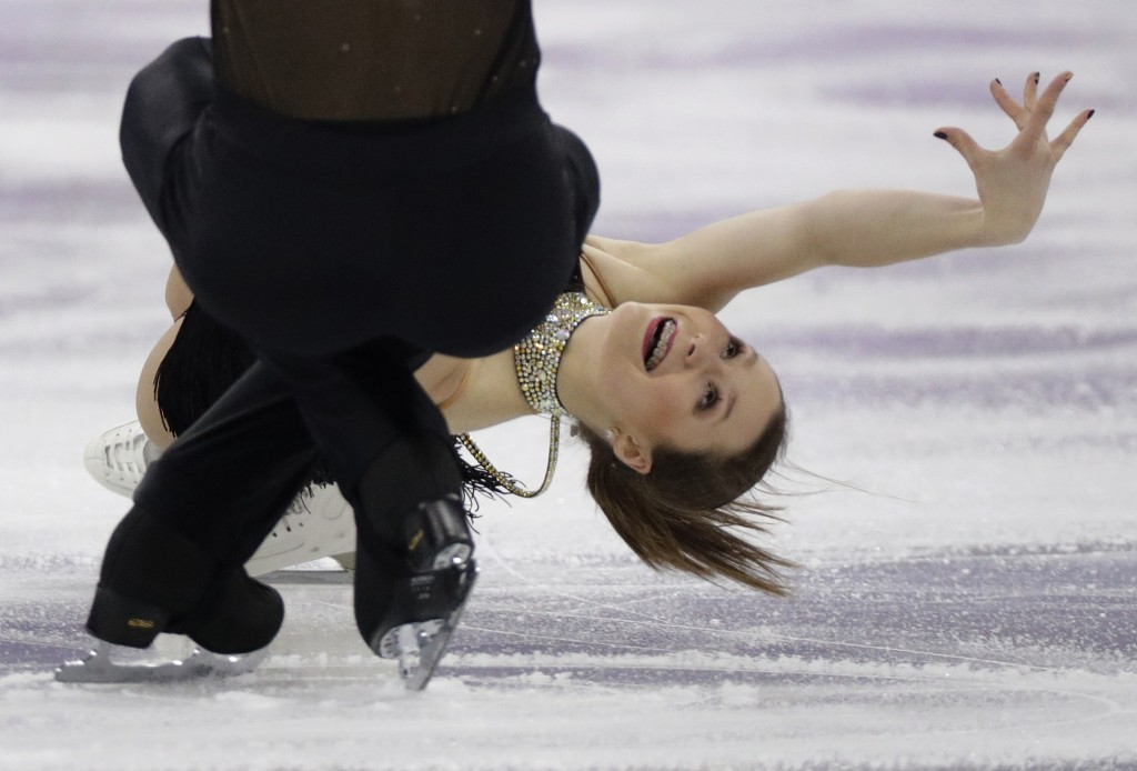 Annika Hocke and Ruben Blommaert of Germany perform in the pair figure skating short program in the Gangneung Ice Arena at the 2018 Winter Olympics in
