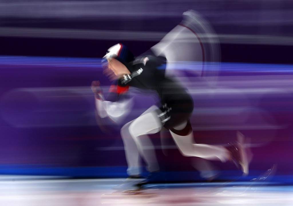 Heather Bergsma of the U.S. competes during the women's 1,000 meters speedskating race at the Gangneung Oval at the 2018 Winter Olympics in Gangneung,